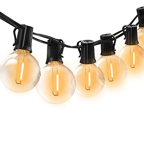 BRTLX Guirnalda Exterior Luminosas,18.3ft G40 Cadena de Luces LED con 12 Bombillas(2 Bomnillas de Reemplazo)Perfecto Para Patios,Jardines,Café,Cobertizos,Bodas,Pérgolas