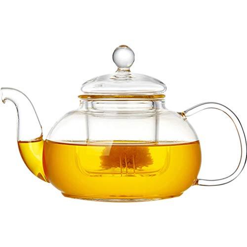 FABAX Tetera 600ml / 800ml Tetera de Cristal a Prueba de Calor de la Flor del pote del té, Botella práctica Flor Taza de té Tetera de Cristal Cafetera Teteras (tamaño : 600ml)
