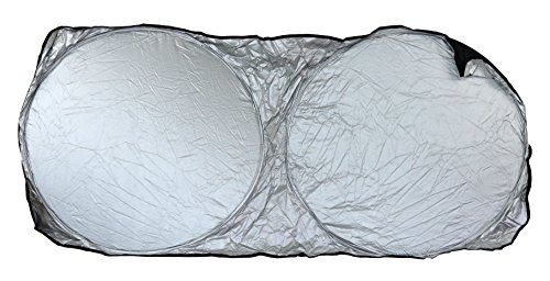 "Harrier UV Blocking Reflective Car Windshield Screen Sun Shade, Black & Silver 57"" x 27"""
