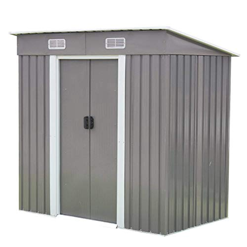 6'x4' Metal Utility Tool Shed Outdoor Storage Shed Tool House Shed with Sliding Door for Garden Backyard Lawn