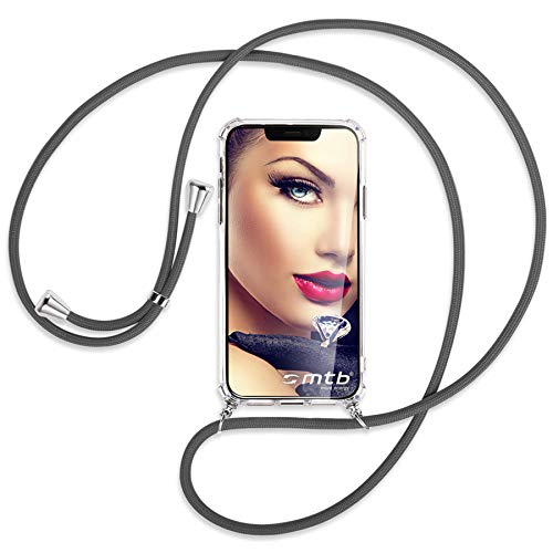 mtb more energy® Handykette kompatibel mit Sony Xperia L2, L2 Dual SIM (5.5'') - dunkelgrau - Smartphone Hülle zum Umhängen - Anti Shock Full TPU Hülle