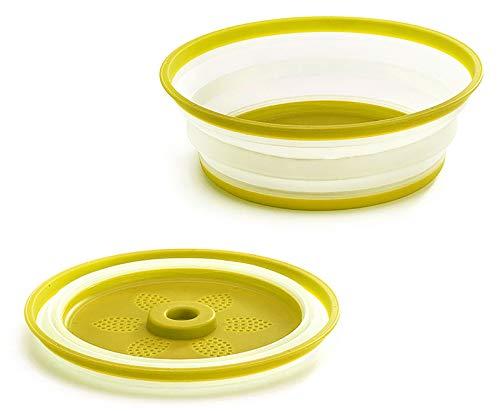 Gresunny tapa microondas plegable plástico cubierta para plato de microondas funda para microondas con salidas de vapor tapa antisalpicaduras cesta de drenaje de frutas y verduras Amarillo