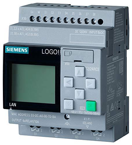 Siemens 6ED1052-1MD08-0BA0 LOGO! 12/24RCE, logic module, disp PS/I/O: 12/24VDC/relay, 8 DI (4AI)/4DO, memory 400 blocks, modular expandable, Ethernet