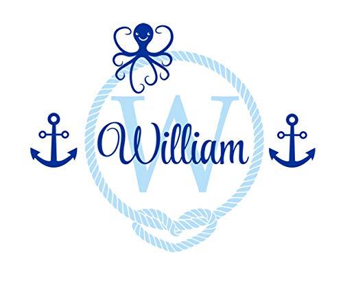 etiqueta de la pared decoración Pulpo de marinero náutico para la habitación de los niños Nombre personalizado de los niños Anchor Wall Art Decals habitación del bebé habitación de los niños