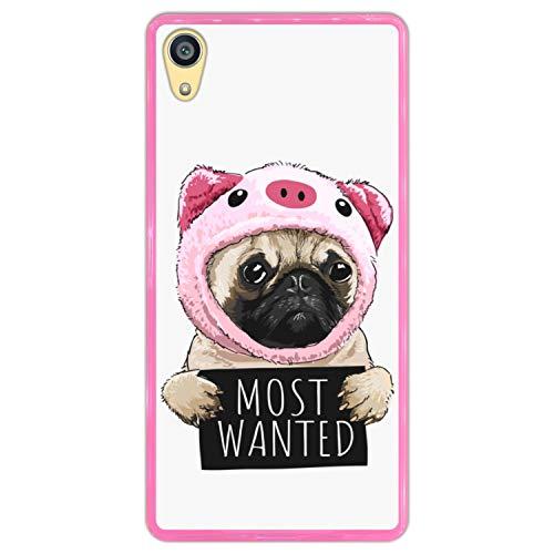 Funda Rosa para [ Sony Xperia Z5 Premium ] diseño [ Perro Pug Disfrazado de Cerdo, Most Wanted ] Carcasa Silicona Flexible TPU