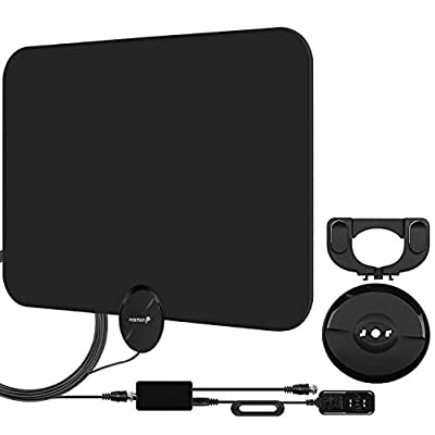 Fosmon HDTV Antenna [2019 Latest], Ultra Thin Indoor Digital TV Antenna 50-80 Miles Long Ranges, UHF/VHF/1080p 4K Free TV Channel, with Amplifier Signal Booster / 10FT Coaxial Cable (Black)