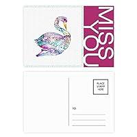 カラフルな鳥の水彩画 ポストカードセットサンクスカード郵送側20個ミス
