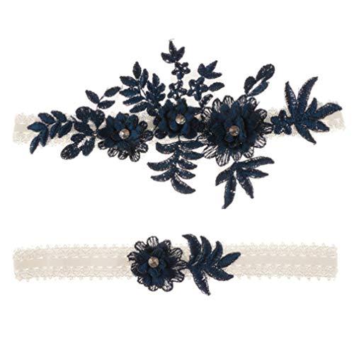 ZNMUCgs Conjunto de liguero de boda con diamantes de imitación, anillo de muslo de encaje y flor de novia, azul marino