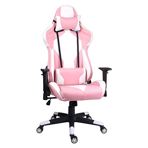 Hadwin Gaming Chair PC Computer Office Racing Chair with Back and Neck Support, Ergonomic Desk Chair High Back Leather PC Office Chair (Pink)