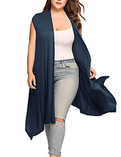 Comfy - Lightweight,soft and stretchy fabric is gentle for skin. Design - Sleeveless long vest,loose fitting.Open front and draped asymetric hem make the cardigan vest more flattering. Paired - Perfect to wear the sleeveless cardigan in the summer ov...