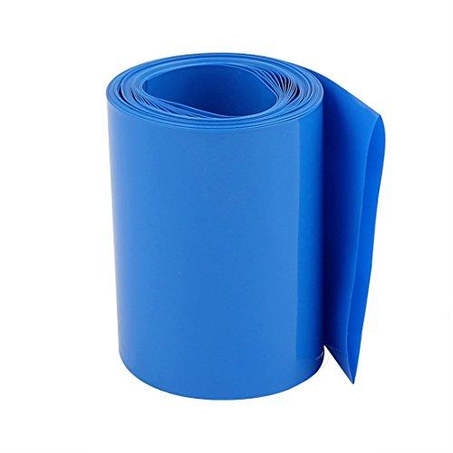 sourcing map Tubo termoencogible de PVC azul para 18.650 baterías de 60mm Anchura plana de 10m de longitud