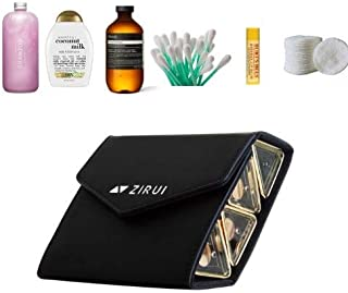 ZIRUI TSA Approved Secure & Compact Travel Size Case & Bottles For Shampoo, Lotion & Liquids | Magnetic & Sleek & Chic Travel Containers Elegant Leather Case | Travel Kit for Toiletries