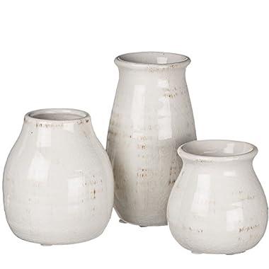 Sullivans Decorative Distressed Crackled Ceramic Vases in Cream, 3 - 5.5 Inch - Set of 3