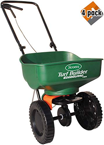 Turf Builder EdgeGuard Mini Broadcast Spreader | Spreads Grass Seed, Fertilizer and Ice Melt | Use in Spring, Summer, Fall and Winter - 4 Pack