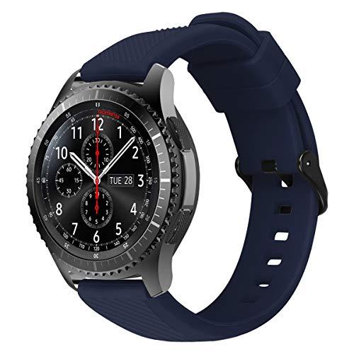 MroTech 22mm Horlogeband Armband Siliconen compatibel met Samsung Gear S3 Frontier Classic/Galaxy Watch 46mm/Huawei Watch 2 Classic/GT/GT2 Fossil 22 mm Wisselarmband Horloge Band Slicone-Blauw met Zwarte Gesp