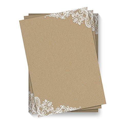 50 x Briefpapier Motivpapier DIN A4 Beidseitig Vollflächig - Kraftpapier Look