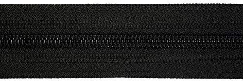 Jajasio Endlosreißverschluss mit Zipper 3mm (Nonlock), 5 Meter, Reißverschluss endlos Auswahl aus 40 Farben/Farbe: 89 – schwarz