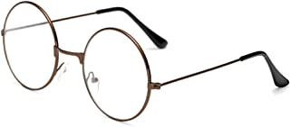 BOZEVON Unisex Round Glasses Metal Frame - Vintage Metal Circle Frame Non-prescription Eyeglasses for Men Women