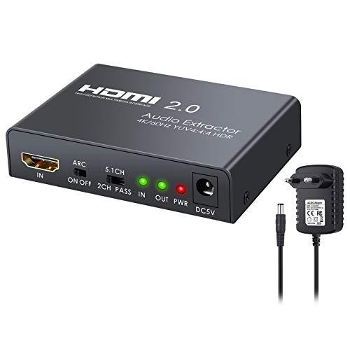 Neoteck HDMI Extractor de Audio HDMI 2.0 HDR 4K @60Hz YUV 4:4:4 y Adaptador de HDMI a Óptico Toslink SPDIF+R L RCA +3.5mm Convertidor de Audio Estéreo para Reproductor de BLU-Ray PS4 Pro Laptop HDTV