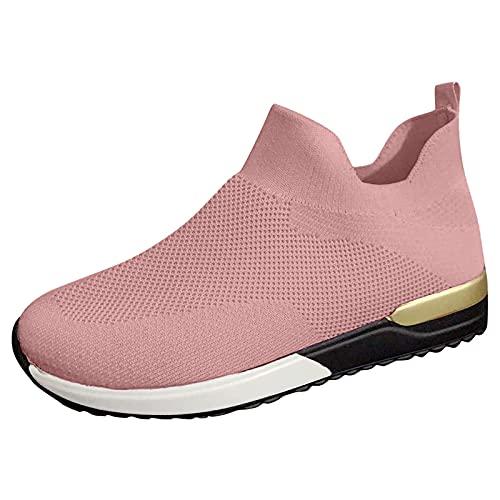 CYGGA Damen Mesh Sneaker Laufschuhe Leicht Atmungsaktive Turnschuhe Flache Schuhe Sommer Herbst Leichtathletikschuhe rutschfest Wanderschuhe Outdoor Lässige Fitness Sportschuhe Joggingschuhe