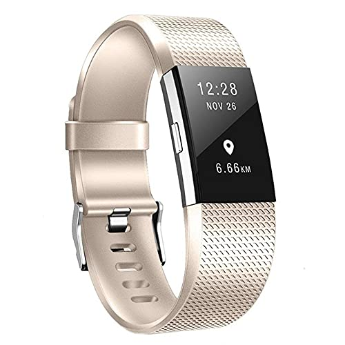 G-RF Bandas De Reloj para Fitbit Charge 2 TPE Color De Metal A Cuadros Pintado Correa (L,Oro Champagne)