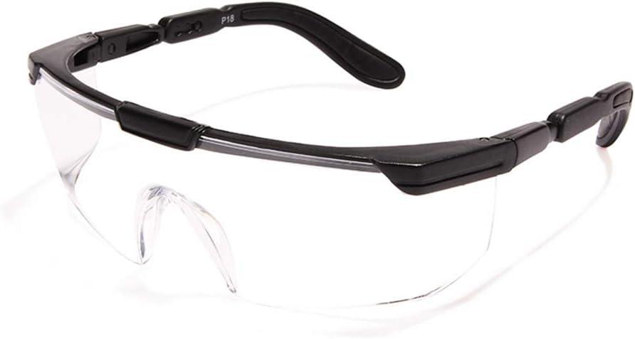 Gafas de Seguridad con Protecciones Laterales integradas, Lentes Transparentes envolventes Resistentes a los arañazos antiniebla, antisalpicaduras, Gafas Ajustables, Montura Negra