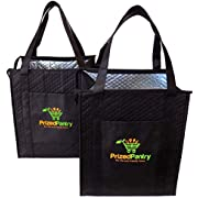 Prized Pantry 2 Pack Insulated Reusable Grocery Bags, X-Large Heavy Duty Cooler Tote Bags, Premium Insulation, Bottom Support, Wrap-Around Handles, Front Pocket, Zipper, No Leak, Keeps Food Hot/Cold