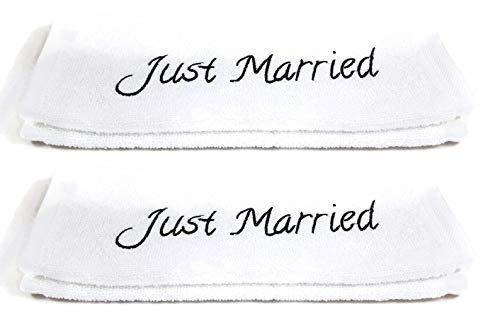 Charming Boxes Hochzeits-Handtücher Set - 2 Stück, 30x50cm, Baumwolle, tolles Hochzeitsgeschenk für das Brautpaar/Hochzeitspaar, Handtuch, Geschenk, Verlobung (Just Married)