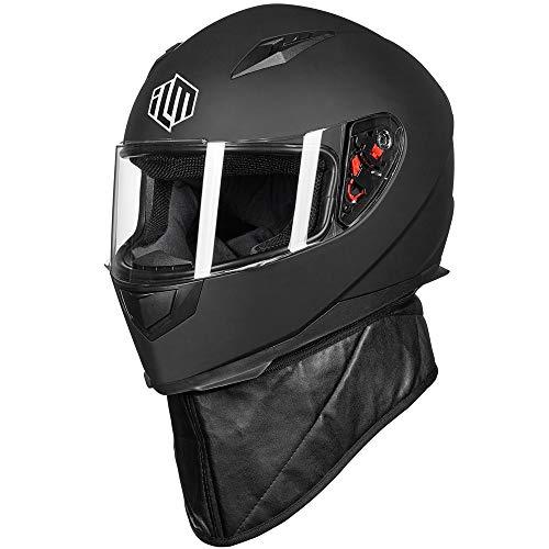 ILM Full Face Motorcycle Street Bike Helmet with Removable Winter Neck Scarf + 2 Visors DOT (L, Matte Black)