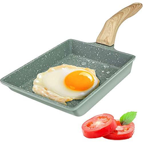 Padella per Frittata Antiaderente Giapponese, Pentole per uova Tamagoyaki, Fornello a Gas e Compatibile con Induzione, Pentola in pietra con manico in legno e spazzola per olio, 20x15cm (Verde)