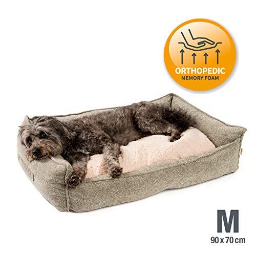 JAMAXX Premium Hundebett Orthopädisch Memory Visco Schaum Waschbar Abnehmbarer Bezug Wasserabweisend - Weiches Sofa Hundekorb Hunde-Körbchen mit Wendekissen / PDB2004 S-XL (90x70 (M), Sand