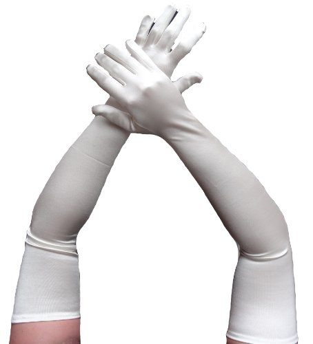 Ladymissalonghi Damen Oberarmlange Satin Handschuhe Modana champagner -one size-