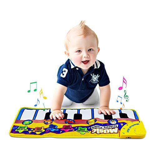 Klaviermatte, Musik Teppich Touch Play Tastaturmatte für Baby Kleinkind lustige Spieldecke Musikinstrument Spielzeug Matte großes Baby Spielzeug Geschenk für Geburtstag Weihnachten (Gelb)
