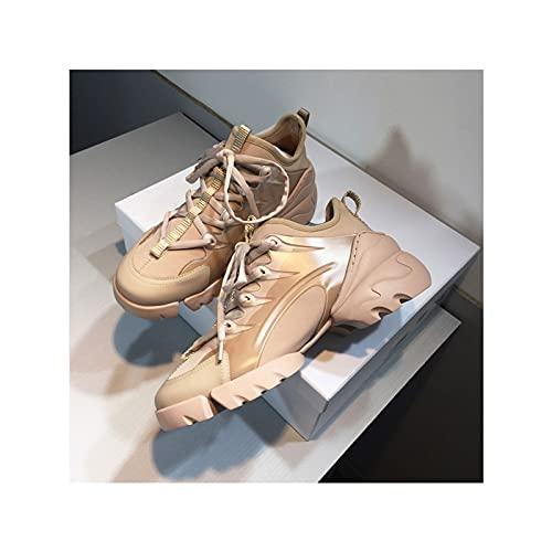 HaoLin Zapatillas de Deporte de Tacón Oculto para Mujer, Zapatos Deportivos Informales de Tacón de Cuña, Zapatos Deportivos de Plataforma de Otoño a La Moda con Aumento de Altura,Beige-39 EU