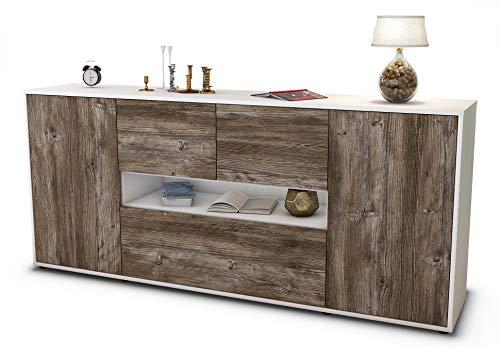 Stil.Zeit Sideboard Elisabetta/Korpus Weiss matt/Front Holz-Design Treibholz (180x79x35cm) Push-to-Open Technik