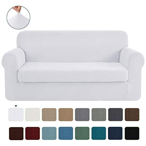 CHUN YI 2-Stück Jacquard Sofaüberwurf, Sofaüberzug, Sofahusse, Sofabezug für Sofa, Couch, Sessel, mehrere Farben (Weiß, 2-Sitzer)