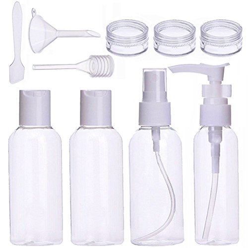 10stück Reise Flaschen Set Nachfüllbare Leere Reiseflaschen Kosmetik Container für Shampoo, Flüssigkeit Tragbare Air Travel Zubehöreme (Transparent)