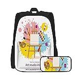 SDBUYW-ZQ Sac à dos scolaire ,Outils de peinture Fournitures d'art colorées Chevalet, Toile, adolescents, étudiants et ensembles de deux pièces de trousse à crayons.