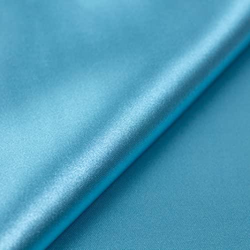 Generico - Tela de raso por medio metro - Tejido de satén Disponible en 30 colores - Altura 160 cm - 145 gr/m2 - 100% poliéster (turquesa)