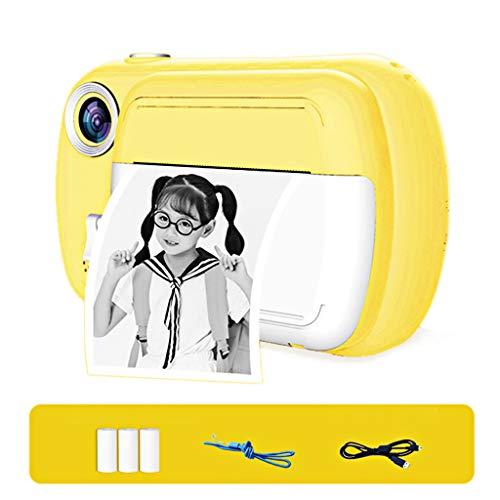 Impresión instantánea de la cámara para los niños, las niñas Cero tinta de impresión de fotografías Foto selfie de vídeo digital con películas, papel, tarjeta de memoria 8G, 3-12 Años de Edad,Amarillo