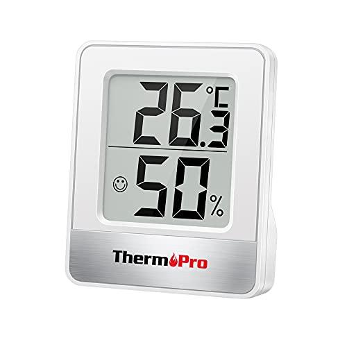 ThermoPro TP49 Mini Termómetro Higrómetro Digital Termohigrómetro de Interior Medidor de Temperatura y Humedad para Medir Ambiente del Hogar, Blanco