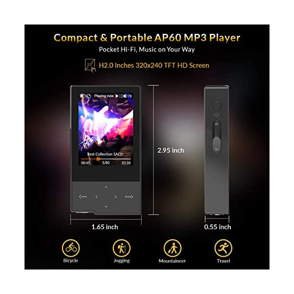 Hi Res Music Player, Bluetooth MP3 Player Portable Lossless Hi-Fi Digital Audio Player Support Aptx/FLAC/DSD/AAC with SD Card Slot 6