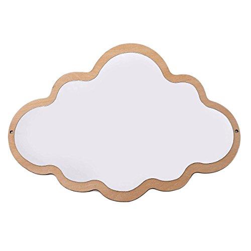 LIOOBO Weißer wolkenförmiger dekorativer Spiegel aus Holz und Acryl (Wolke)