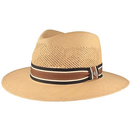 Sombrero de panamá ancho original   sombrero de paja   sombrero de verano de Ecuador – tradicional trenzado a mano con corona ventilada gris XX-Large