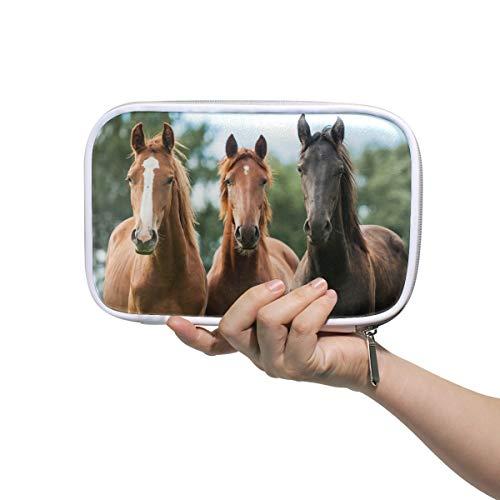 DEZIRO - Borsa organizer multifunzionale per pennelli da trucco, a forma di cavallo, con tasca interna in rete per viaggio