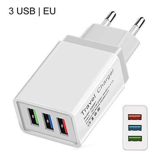 Househome Cargador de Pared, Cargador de Viaje USB USB Cargador rápido con 2,4A Simple/Doble/Tres Enchufe