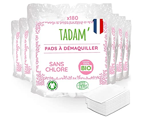 Tadam - 1080 Carrés de Coton Bio - Lot de 6 Packs de 180 Pads de 8x10 cm - Fibre 100% Naturelle, 100% Coton Bio - Sans Chlore, Certifié Gots - Fabriqué en France