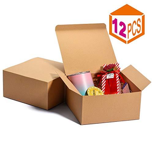 HOUSE DAY Paquete de 12 Cajas de regalo Cajas de regalo de 20x20x10cm para damas de honor cajas de regalo Kraft blanco con tapas para hacer manualidades, cajas de magdalenas (Marrón)