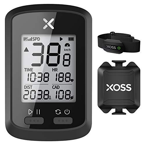 XOSS Ciclocomputador G+ GPS inalámbrico Velocímetro Impermeable Bicicleta de Carretera MTB Bicicleta Bluetooth Ant + con computadoras de Ciclismo de cadencia (Combo 4)