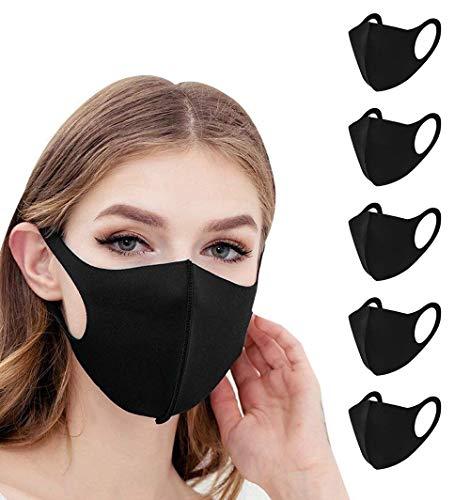 Mund und Nasenschutz HOKIN Masken Mundschutz 5 Stück waschbar wiederverwendbar schwarz Baumwolle Damen Herren Tröpchen Schutz Anti Staub resistent gegen Speichel, zum Bügeln Staubschutzmaske
